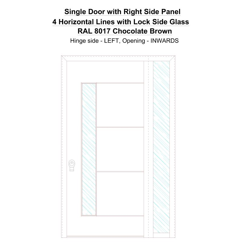 Sd1sp(right) 4 Horizontal Lines With Lock Side Glass Ral 8017 Chocolate Brown Security Door
