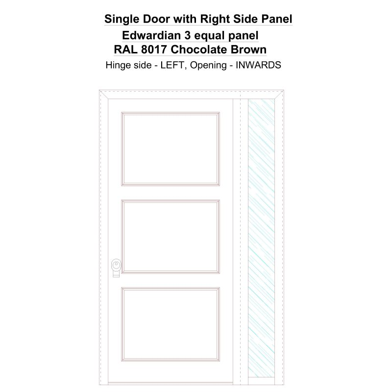 Sd1sp(right) Edwardian 3 Equal Panel Ral 8017 Chocolate Brown Security Door