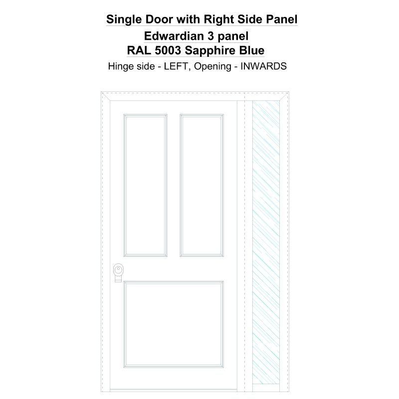 Sd1sp(right) Edwardian 3 Panel Ral 5003 Sapphire Blue Security Door