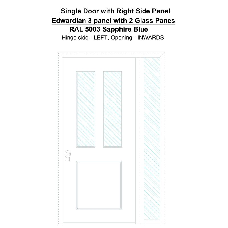 Sd1sp(right) Edwardian 3 Panel With 2 Glass Panes Ral 5003 Sapphire Blue Security Door
