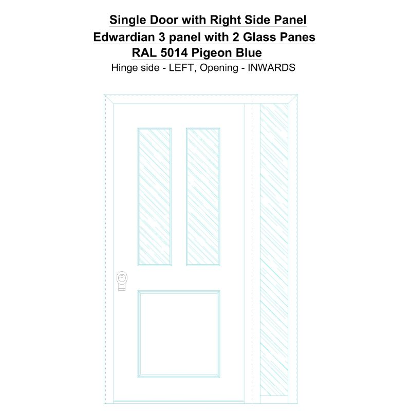 Sd1sp(right) Edwardian 3 Panel With 2 Glass Panes Ral 5014 Pigeon Blue Security Door