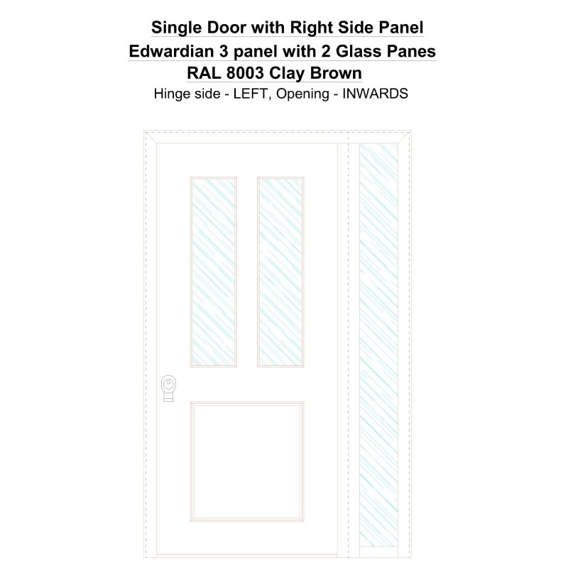 Sd1sp(right) Edwardian 3 Panel With 2 Glass Panes Ral 8003 Clay Brown Security Door