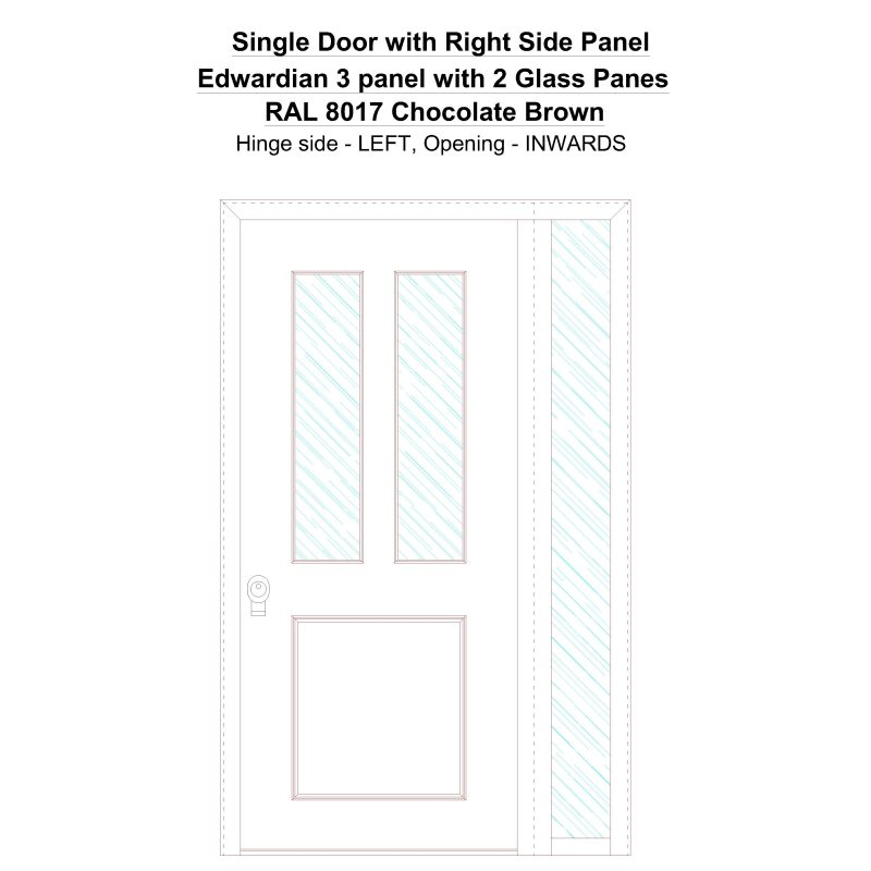 Sd1sp(right) Edwardian 3 Panel With 2 Glass Panes Ral 8017 Chocolate Brown Security Door