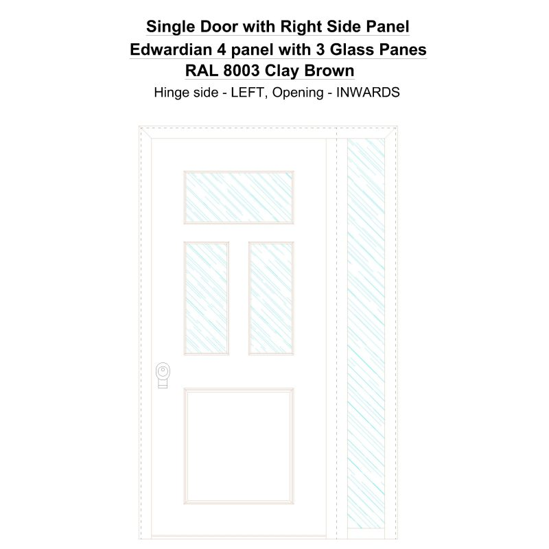 Sd1sp(right) Edwardian 4 Panel With 3 Glass Panes Ral 8003 Clay Brown Security Door