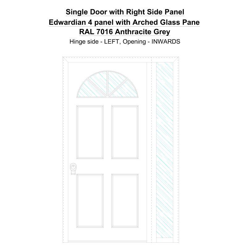 Sd1sp(right) Edwardian 4 Panel With Arched Glass Pane Ral 7016 Anthracite Grey Security Door