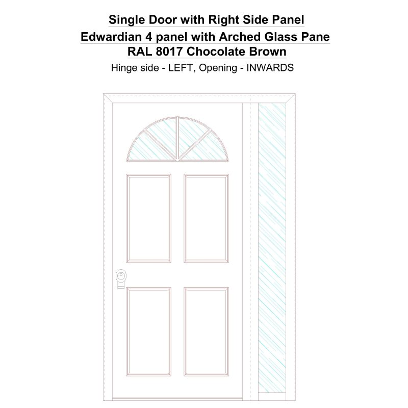 Sd1sp(right) Edwardian 4 Panel With Arched Glass Pane Ral 8017 Chocolate Brown Security Door