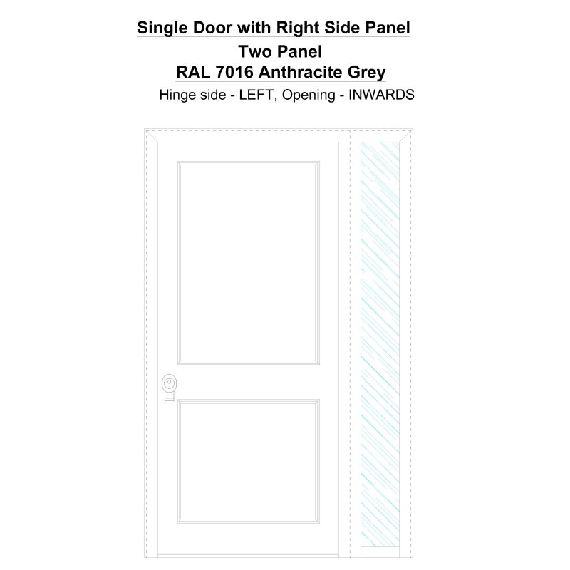 Sd1sp(right) Two Panel Ral 7016 Anthracite Grey Security Door
