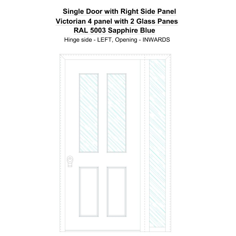 Sd1sp(right) Victorian 4 Panel With 2 Glass Panes Ral 5003 Sapphire Blue Security Door