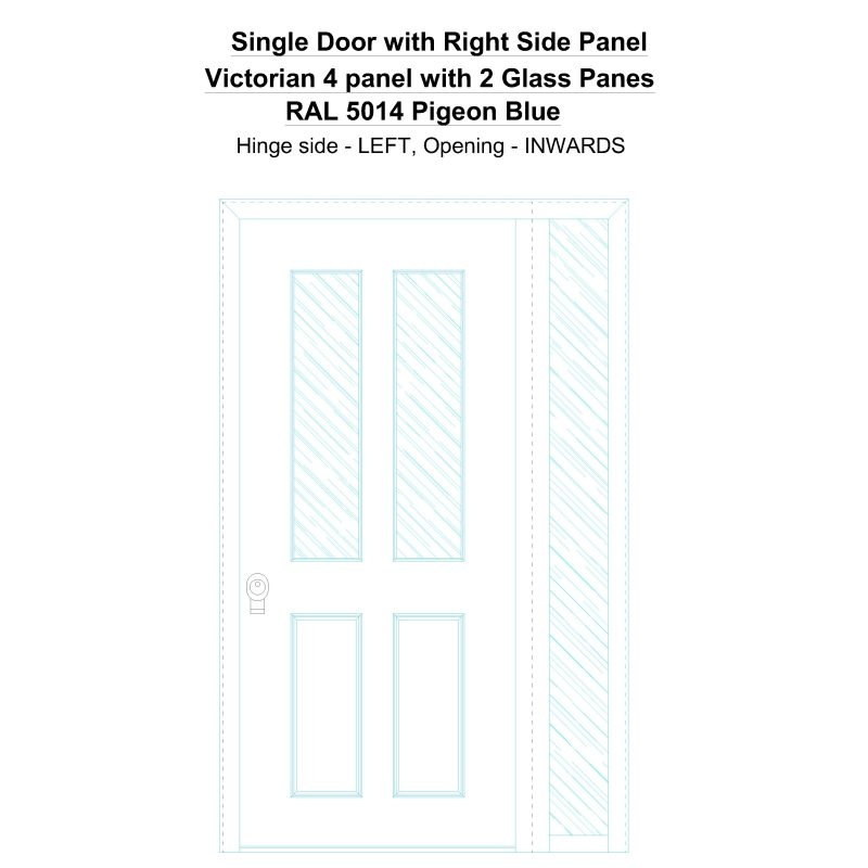 Sd1sp(right) Victorian 4 Panel With 2 Glass Panes Ral 5014 Pigeon Blue Security Door