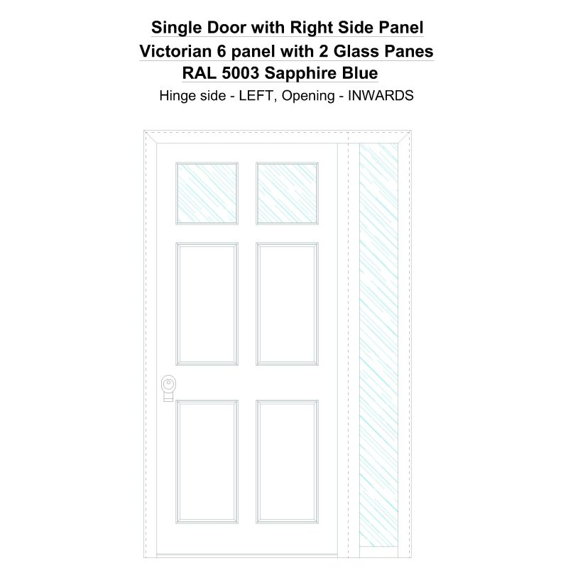 Sd1sp(right) Victorian 6 Panel With 2 Glass Panes Ral 5003 Sapphire Blue Security Door