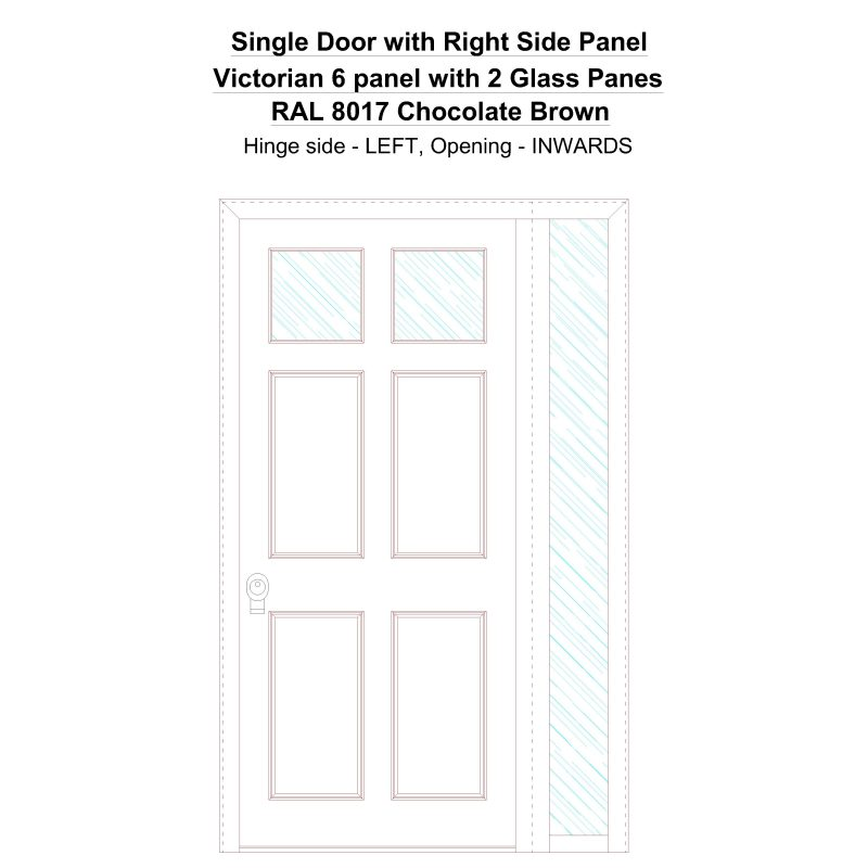 Sd1sp(right) Victorian 6 Panel With 2 Glass Panes Ral 8017 Chocolate Brown Security Door