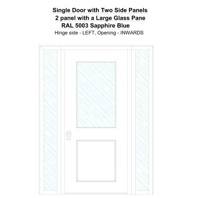 Sd2sp 2 Panel With A Large Glass Pane Ral 5003 Sapphire Blue Security Door