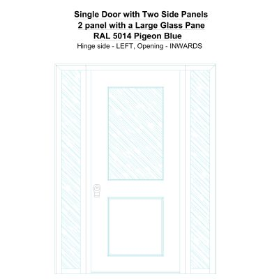 Sd2sp 2 Panel With A Large Glass Pane Ral 5014 Pigeon Blue Security Door