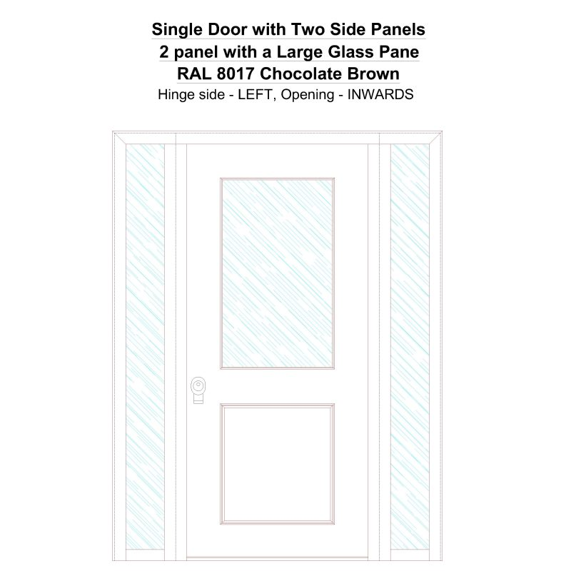 Sd2sp 2 Panel With A Large Glass Pane Ral 8017 Chocolate Brown Security Door