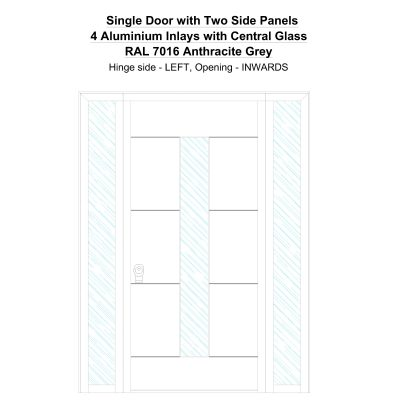 Sd2sp 4 Aluminium Inlays With Central Glass Ral 7016 Anthracite Grey Security Door