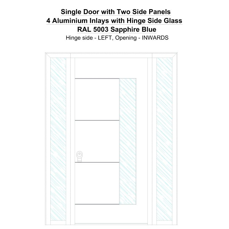 Sd2sp 4 Aluminium Inlays With Hinge Side Glass Ral 5003 Sapphire Blue Security Door