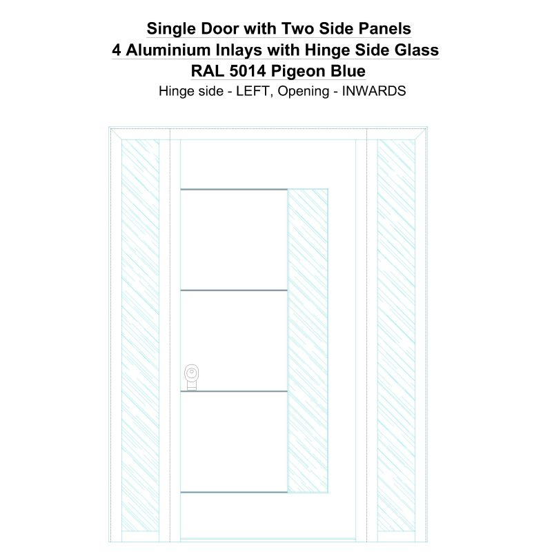 Sd2sp 4 Aluminium Inlays With Hinge Side Glass Ral 5014 Pigeon Blue Security Door