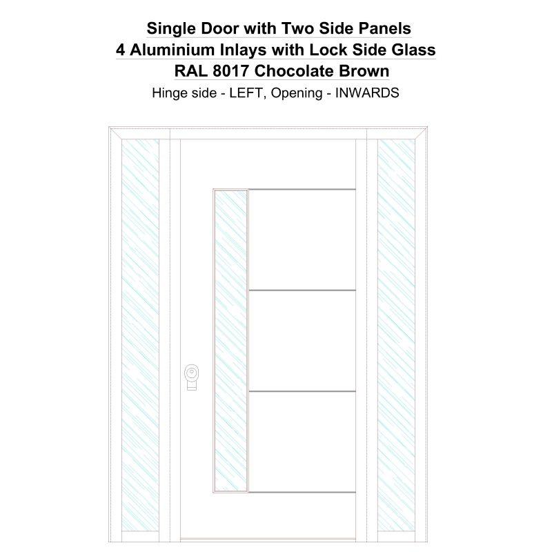 Sd2sp 4 Aluminium Inlays With Lock Side Glass Ral 8017 Chocolate Brown Security Door
