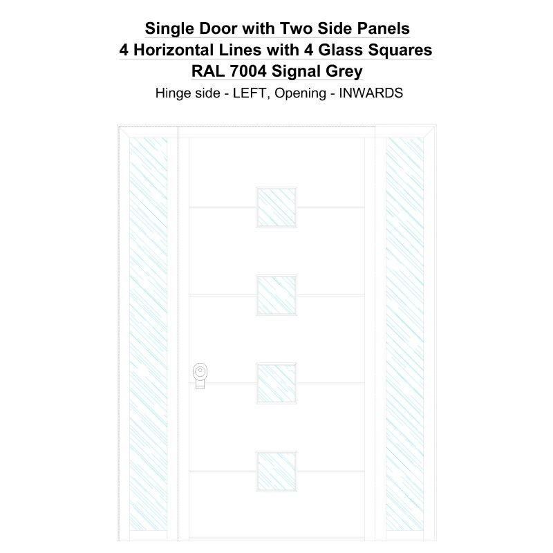 Sd2sp 4 Horizontal Lines With 4 Glass Squares Ral 7004 Signal Grey Security Door