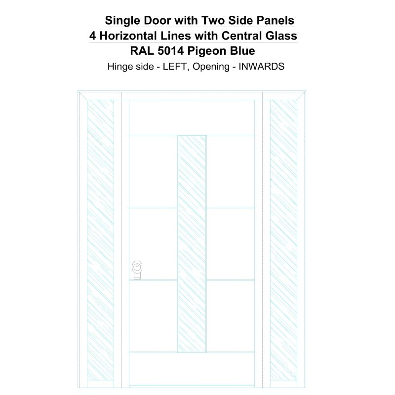 Sd2sp 4 Horizontal Lines With Central Glass Ral 5014 Pigeon Blue Security Door