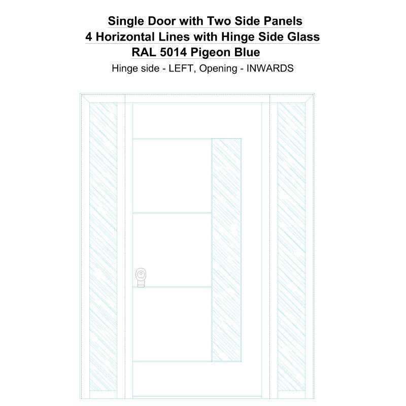 Sd2sp 4 Horizontal Lines With Hinge Side Glass Ral 5014 Pigeon Blue Security Door