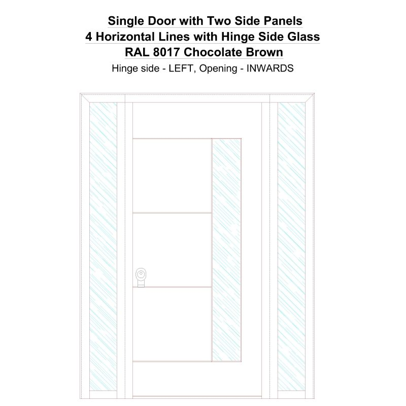 Sd2sp 4 Horizontal Lines With Hinge Side Glass Ral 8017 Chocolate Brown Security Door