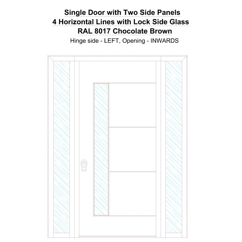Sd2sp 4 Horizontal Lines With Lock Side Glass Ral 8017 Chocolate Brown Security Door