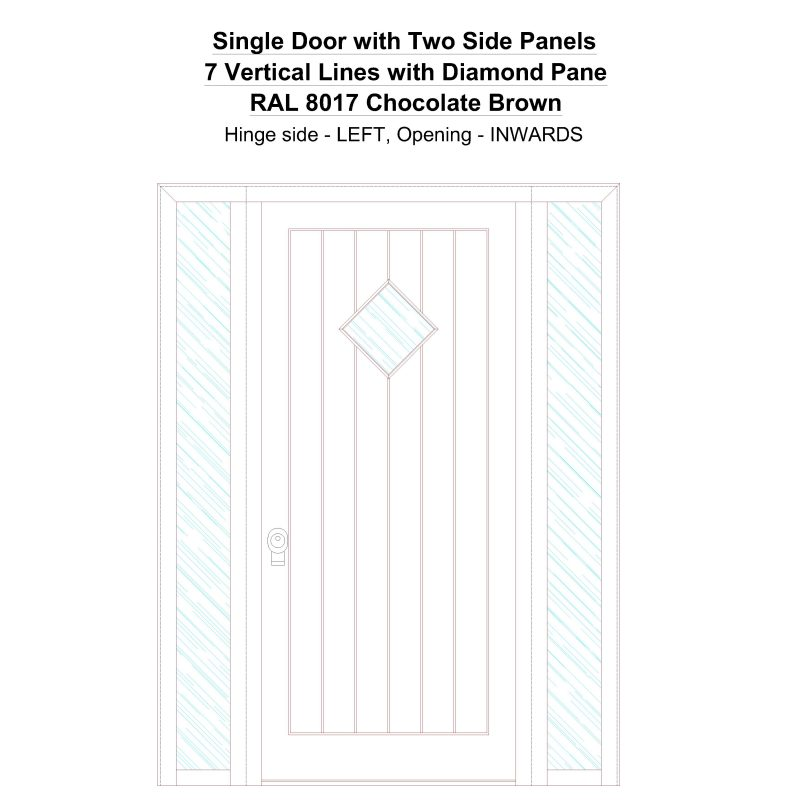 Sd2sp 7 Vertical Lines With Diamond Pane Ral 8017 Chocolate Brown Security Door