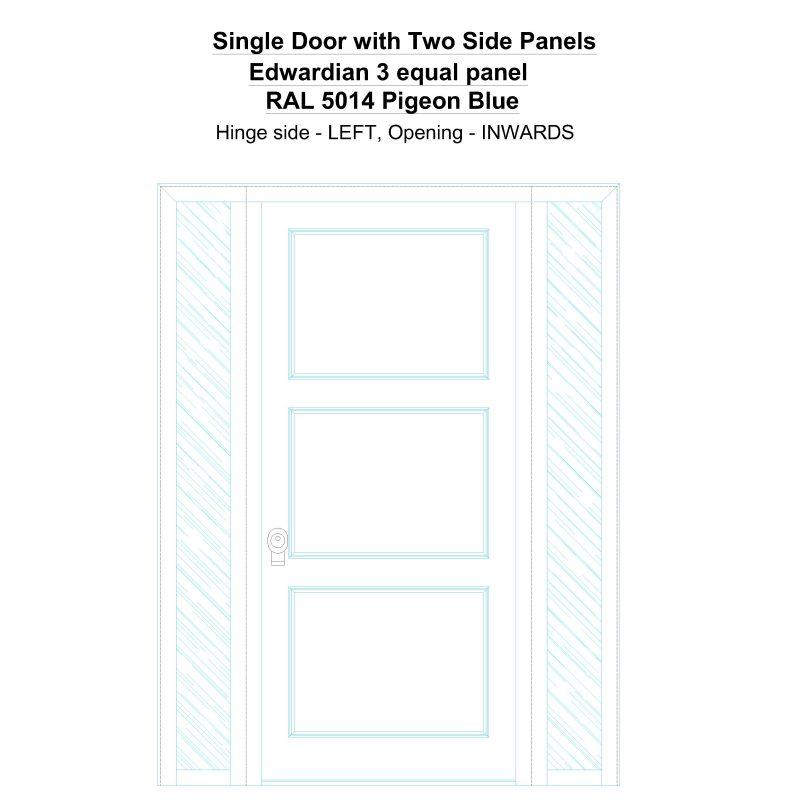 Sd2sp Edwardian 3 Equal Panel Ral 5014 Pigeon Blue Security Door