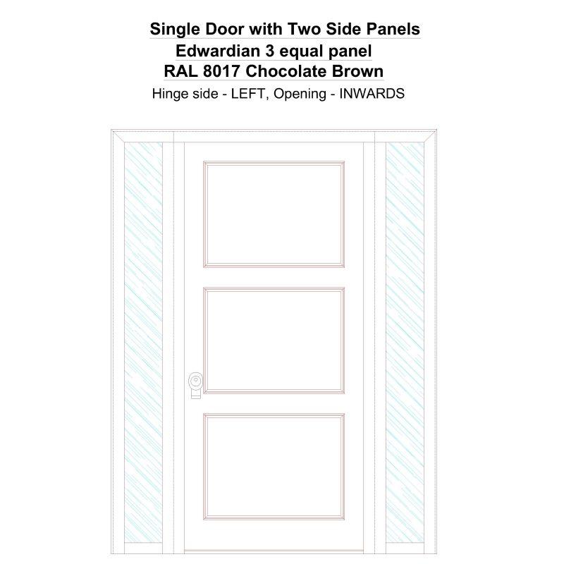 Sd2sp Edwardian 3 Equal Panel Ral 8017 Chocolate Brown Security Door