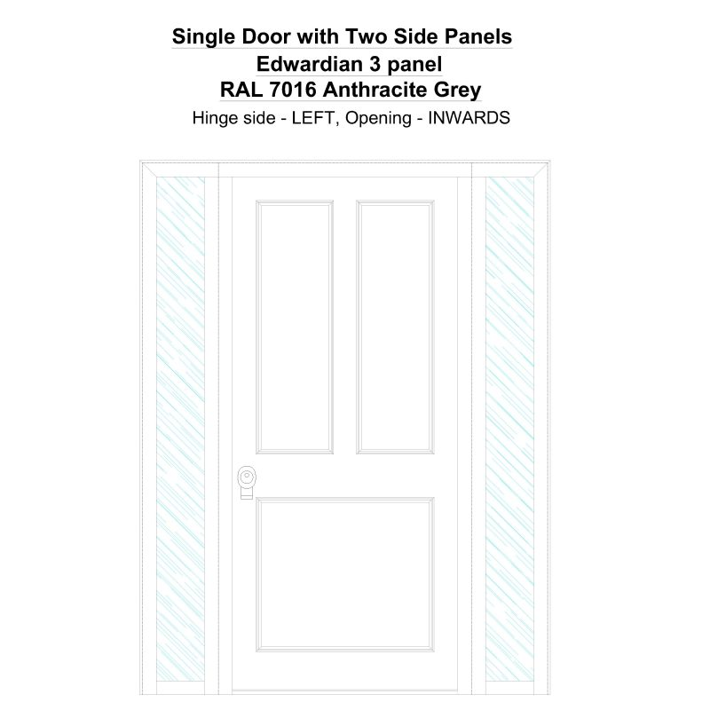 Sd2sp Edwardian 3 Panel Ral 7016 Anthracite Grey Security Door