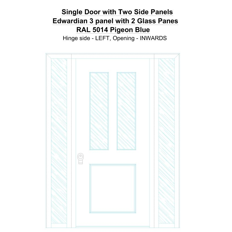 Sd2sp Edwardian 3 Panel With 2 Glass Panes Ral 5014 Pigeon Blue Security Door