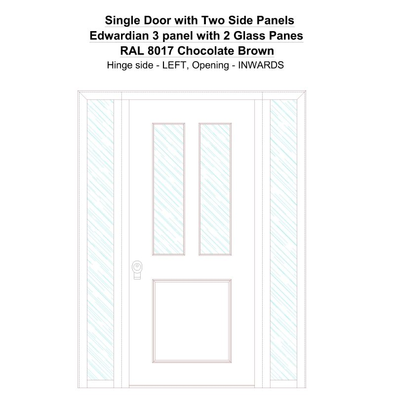 Sd2sp Edwardian 3 Panel With 2 Glass Panes Ral 8017 Chocolate Brown Security Door