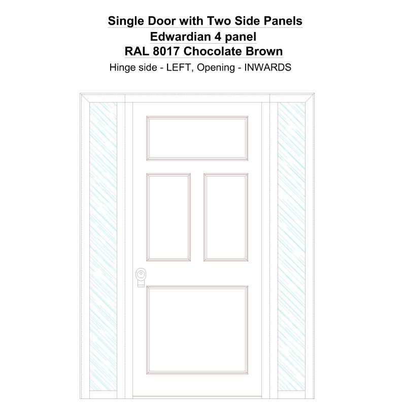 Sd2sp Edwardian 4 Panel Ral 8017 Chocoate Brown Security Door