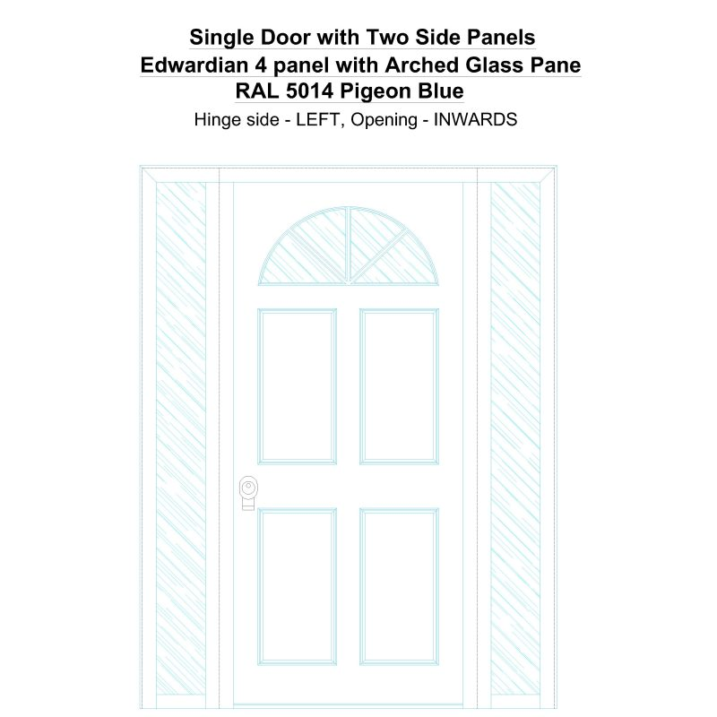 Sd2sp Edwardian 4 Panel With Arched Glass Pane Ral 5014 Pigeon Blue Security Door