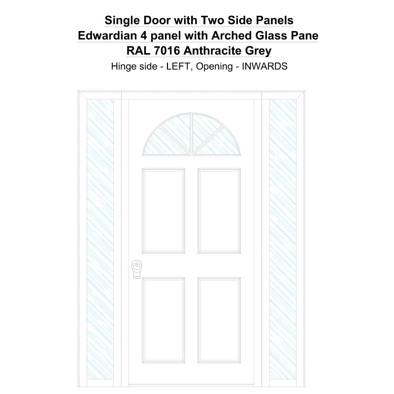 Sd2sp Edwardian 4 Panel With Arched Glass Pane Ral 7016 Anthracite Grey Security Door