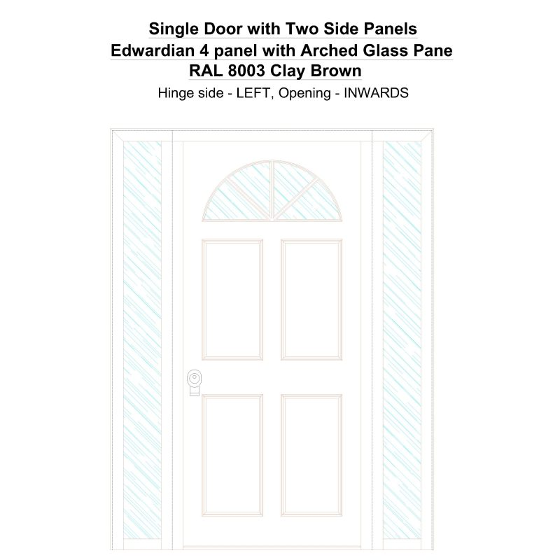 Sd2sp Edwardian 4 Panel With Arched Glass Pane Ral 8003 Clay Brown Security Door