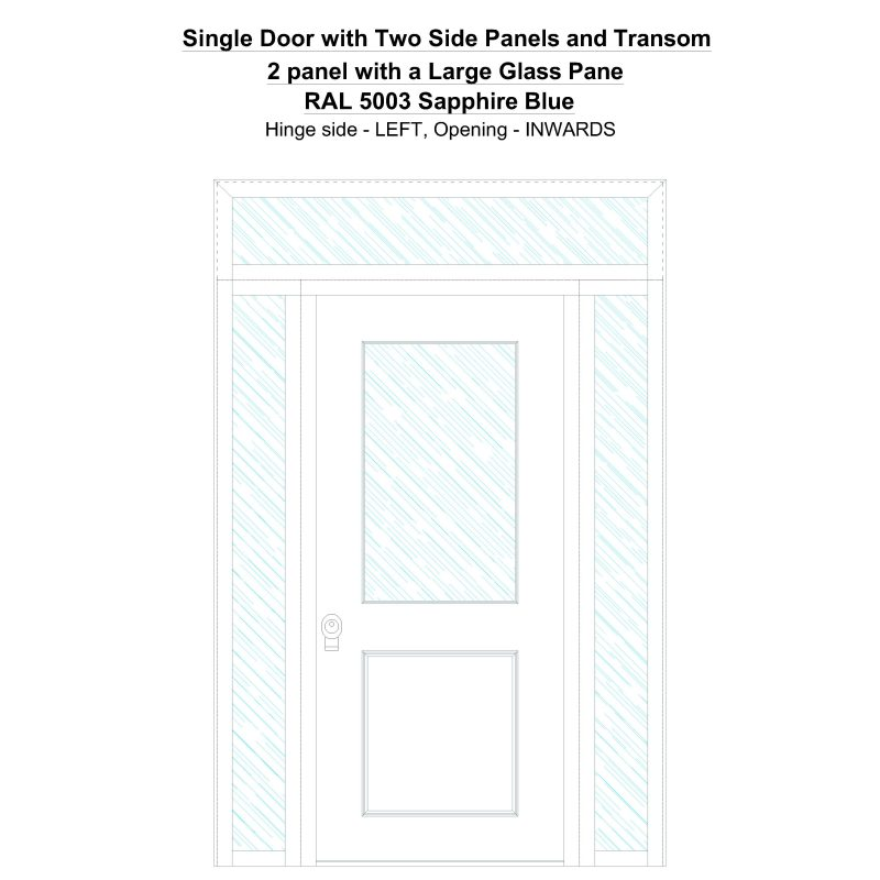 Sd2spt 2 Panel With A Large Glass Pane Ral 5003 Sapphire Blue Security Door