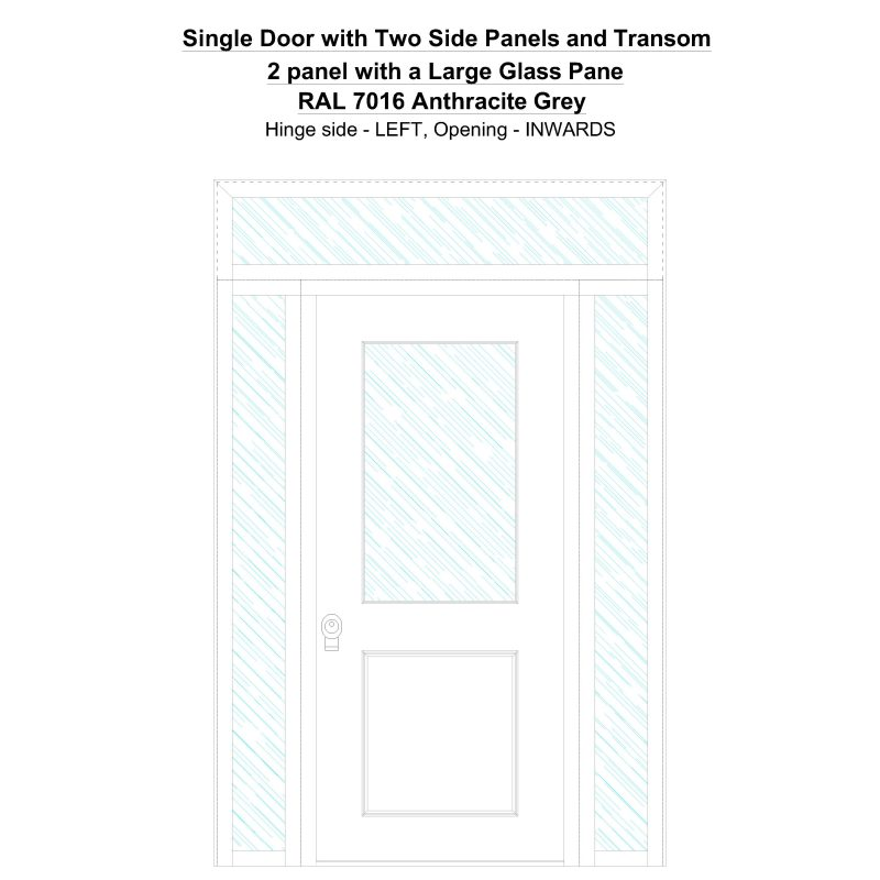 Sd2spt 2 Panel With A Large Glass Pane Ral 7016 Anthracite Grey Security Door