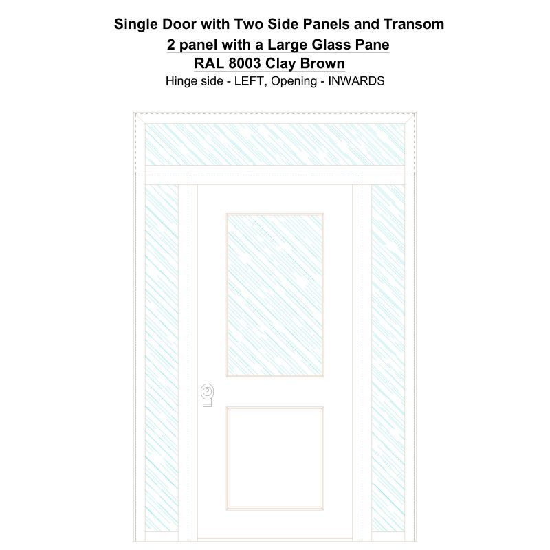 Sd2spt 2 Panel With A Large Glass Pane Ral 8003 Clay Brown Security Door