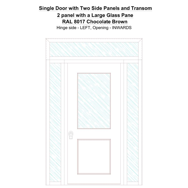 Sd2spt 2 Panel With A Large Glass Pane Ral 8017 Chocolate Brown Security Door