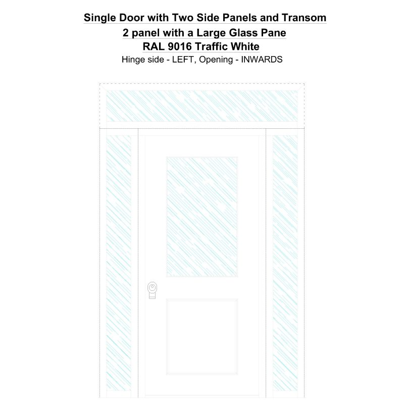 Sd2spt 2 Panel With A Large Glass Pane Ral 9016 Traffic White Security Door