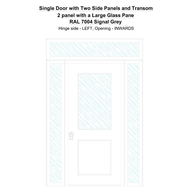 Sd2spt 2 Panel With A Large Glass Pane Ral 7004 Signal Grey Security Door