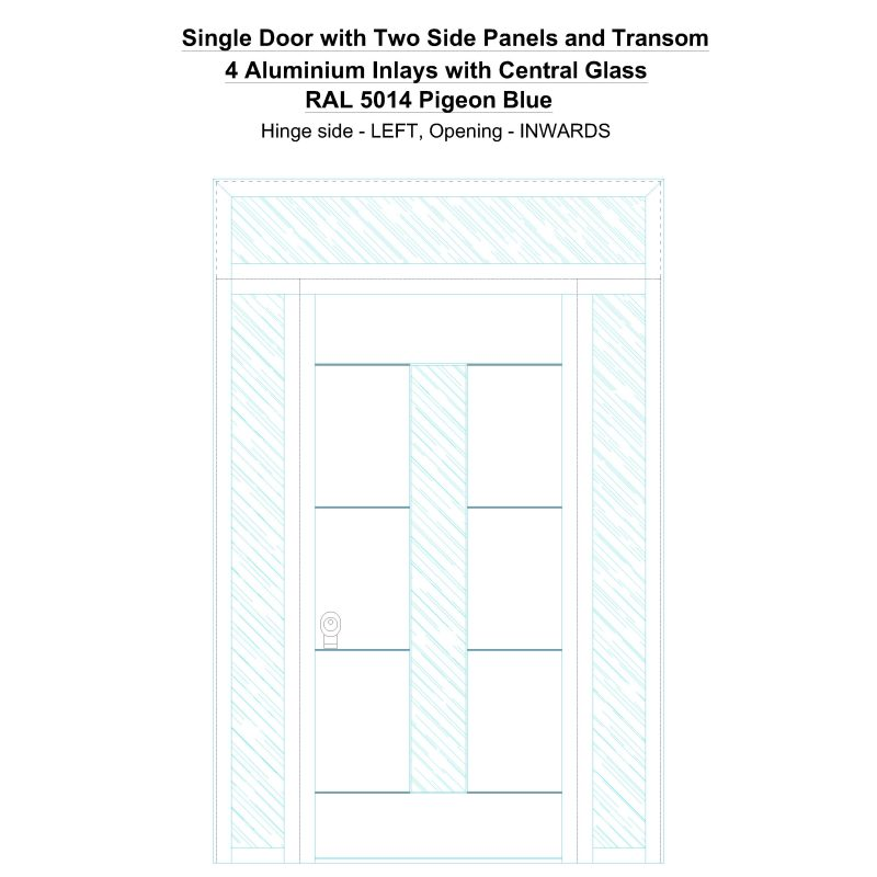 Sd2spt 4 Aluminium Inlays With Central Glass Ral 5014 Pigeon Blue Security Door
