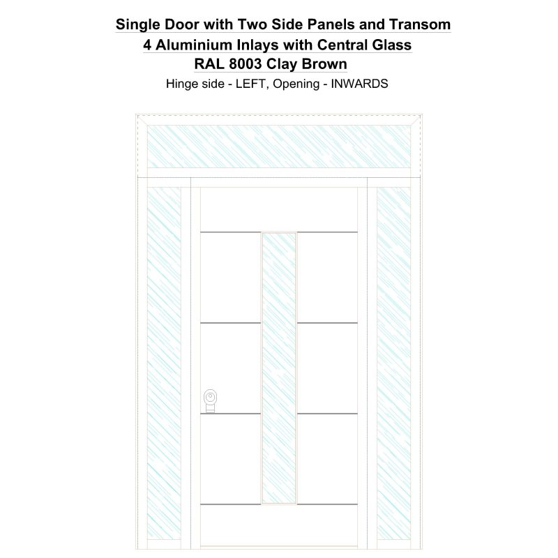 Sd2spt 4 Aluminium Inlays With Central Glass Ral 8003 Clay Brown Security Door