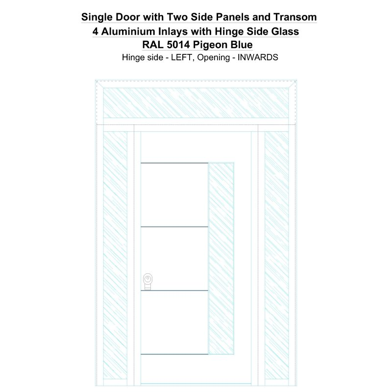 Sd2spt 4 Aluminium Inlays With Hinge Side Glass Ral 5014 Pigeon Blue Security Door