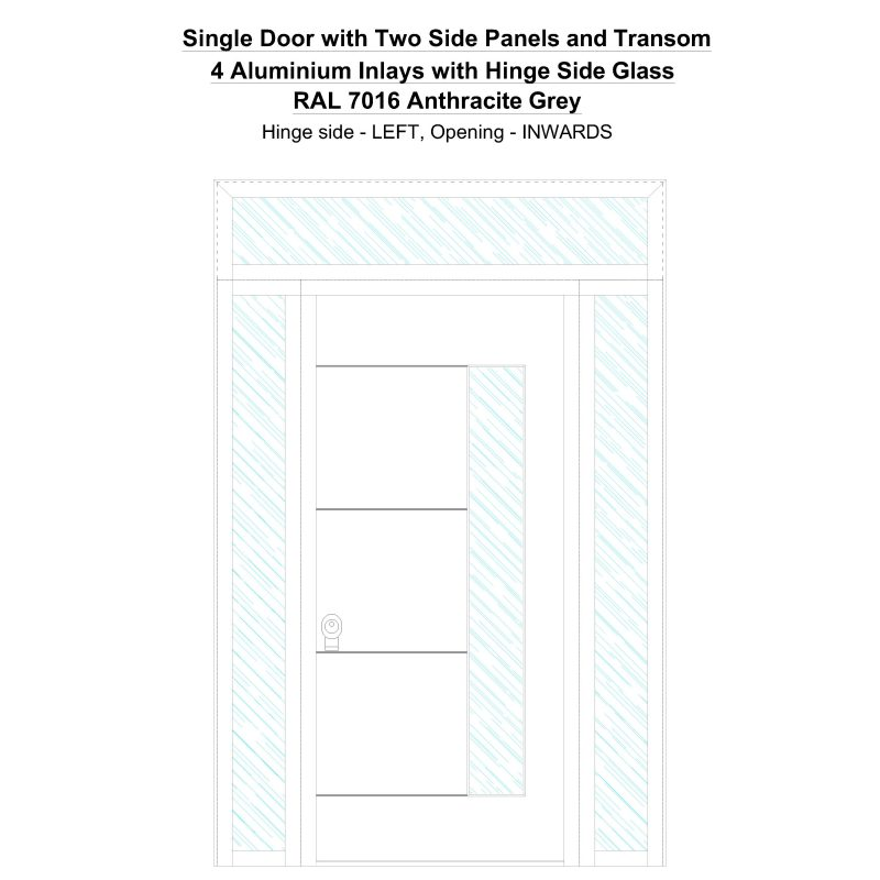 Sd2spt 4 Aluminium Inlays With Hinge Side Glass Ral 7016 Anthracite Grey Security Door