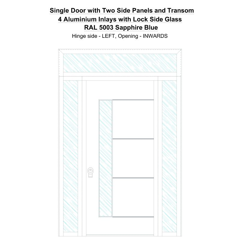 Sd2spt 4 Aluminium Inlays With Lock Side Glass Ral 5003 Sapphire Blue Security Door