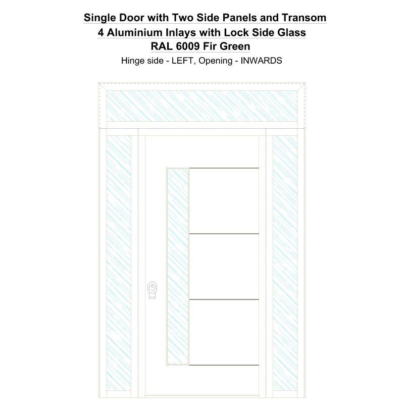 Sd2spt 4 Aluminium Inlays With Lock Side Glass Ral 6009 Fir Green Security Door