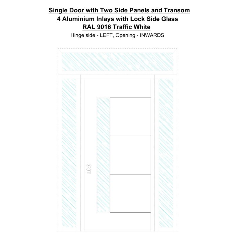 Sd2spt 4 Aluminium Inlays With Lock Side Glass Ral 9016 Traffic White Security Door